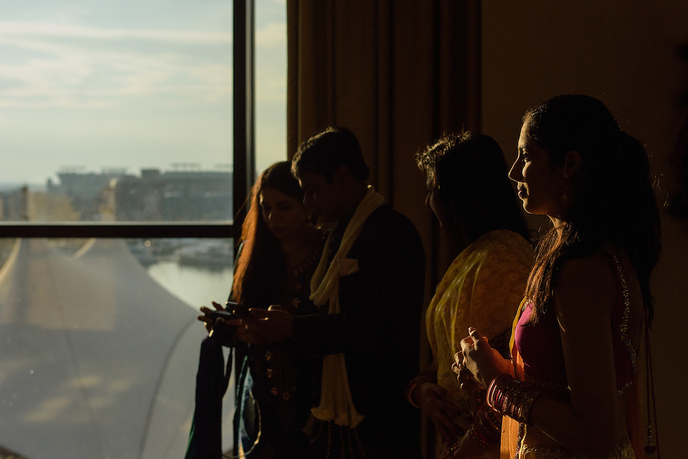Baltimore, Maryland - December 20, 2014: Aashna Handa,  from Charlotte, NC, is caught in nice light during the wedding of her 2nd cousin Trisha Satya Pasricha's wedding festivities at the Baltimore Marriott Waterfront Hotel December 20, 2014. <br /> <br /> Trisha Satya Pasricha and Eshwan Ramudu married at the Baltimore Marriott Waterfront Hotel December 20, 2014. <br /> <br /> <br /> CREDIT: Matt Roth for The New York Times<br /> Assignment ID: 30168620A