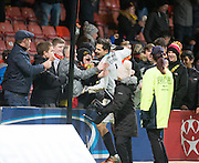 Partick Thistle's Tomas Cerny celebrates with fans at the end - Partick Thistle v Dundee in the Ladbrokes Scottish Premiership at Firhill, Glasgow - Photo: David Young, <br /> <br />  - &copy; David Young - www.davidyoungphoto.co.uk - email: davidyoungphoto@gmail.com