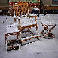 Lonely Chairs on the Patio after the First Snow. Autumn Backyard Nature in New Jersey. Image taken with a Leica T camera and 11-23 mm lens (ISO 400, 16.4 mm, f/5.6, 1/640 sec)
