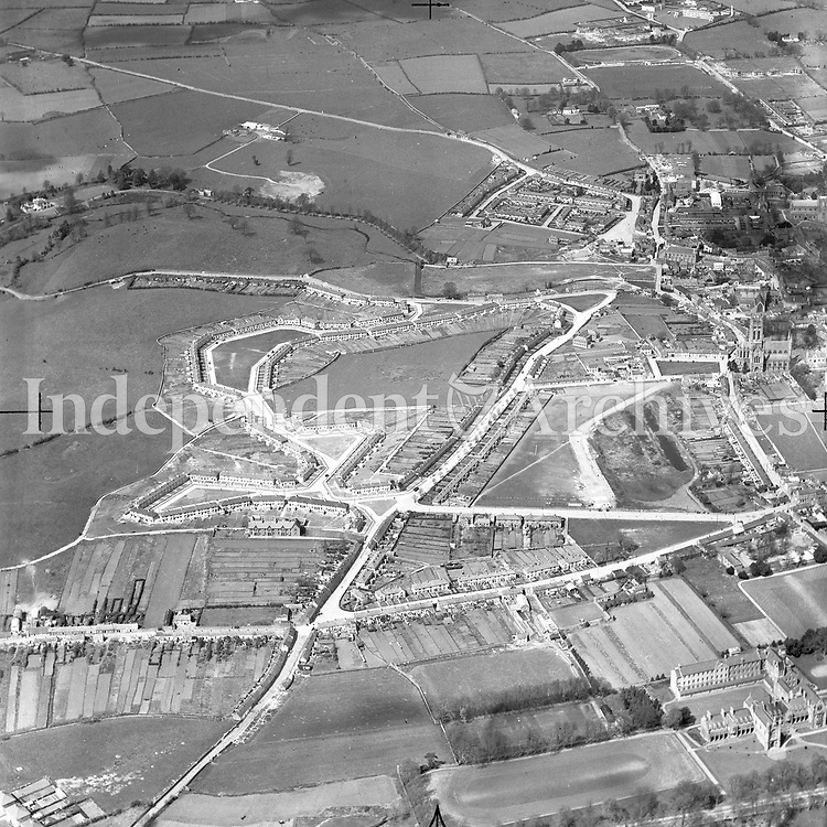 A235 Kilkenny.    (Part of the Independent Newspapers Ireland/NLI collection.)<br /> <br /> <br /> These aerial views of Ireland from the Morgan Collection were taken during the mid-1950's, comprising medium and low altitude black-and-white birds-eye views of places and events, many of which were commissioned by clients. From 1951 to 1958 a different aerial picture was published each Friday in the Irish Independent in a series called, 'Views from the Air'.<br /> The photographer was Alexander 'Monkey' Campbell Morgan (1919-1958). Born in London and part of the Royal Artillery Air Corps, on leaving the army he started Aerophotos in Ireland. He was killed when, on business, his plane crashed flying from Shannon.