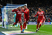 Goal - Britt Assombalonga (9) of Middlesbrough celebrates after he scores a goal to give a 0-1 lead to the away team  during the EFL Sky Bet Championship match between Queens Park Rangers and Middlesbrough at the Kiyan Prince Foundation Stadium, London, England on 9 November 2019.