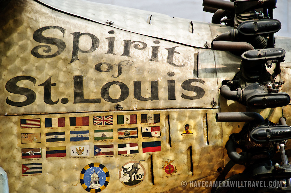 Detail of Charles Lindbergh's plane the Sprit of St. Louis, win which he flew the first non-stop flight from New York to Paris in 1927. On display at the Smithsonian's National Air and Space Museum in Washington, DC.