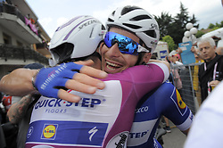 May 18, 2018 - Nervesa Della Battaglia, ITALY - Italian Elia Viviani of Quick-Step Floors celebrates with French Florian Senechal of Quick-Step Floors after winning the stage 13 of the 101st edition of the Giro D'Italia cycling tour, 180km from  Ferrara to Nervesa della Battaglia, Italy, Friday 18 May 2018...BELGA PHOTO YUZURU SUNADA FRANCE OUT (Credit Image: © Yuzuru Sunada/Belga via ZUMA Press)