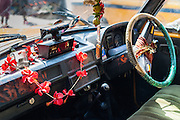 Taxi steering wheel with flowers in Kolkata (India)