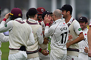 Wicket - Tom Abell of Somerset celebrates running out Middlesex's John Simpson during the Specsavers County Champ Div 1 match between Somerset County Cricket Club and Middlesex County Cricket Club at the Cooper Associates County Ground, Taunton, United Kingdom on 26 September 2017. Photo by Graham Hunt.