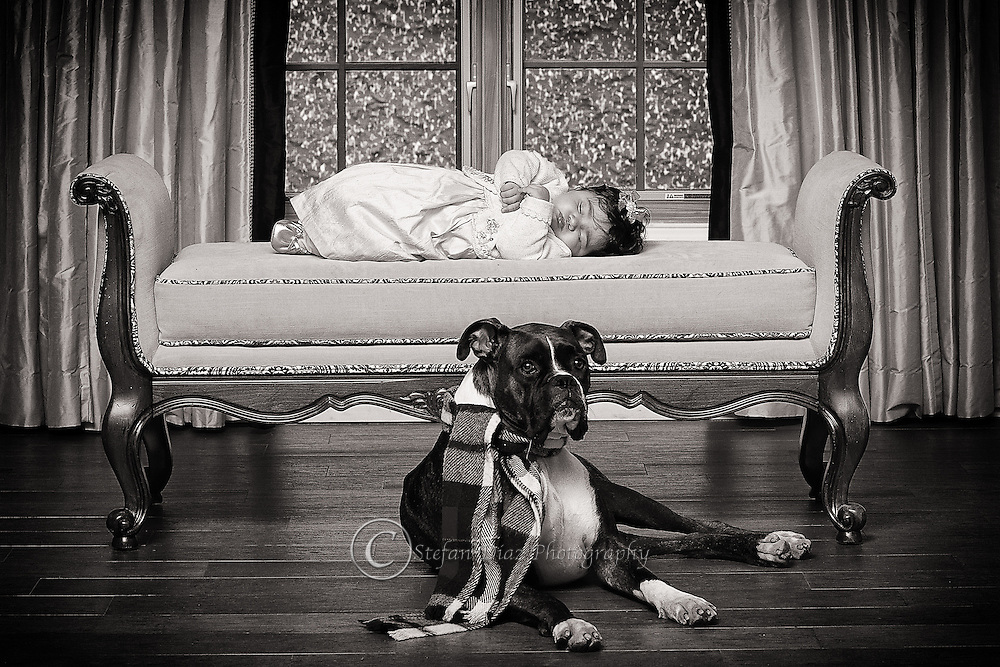 Sleeping baby with dog