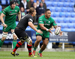 London Irish's Halani Aulika passes - Photo mandatory by-line: Robbie Stephenson/JMP - Mobile: 07966 386802 - 05/04/2015 - SPORT - Rugby - Reading - Madejski Stadium - London Irish v Edinburgh Rugby - European Rugby Challenge Cup