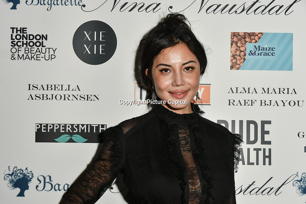 Elaine Zhang attend Nina Naustdal catwalk show SS19/20 collection by The London School of Beauty & Make-up at Bagatelle on 26 Feb 2019, London, UK.