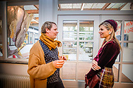 MAASTRICHT - Queen Maxima in conversation with staff and artists during a working visit to the Van Eyck Academy. ROBIN UTRECHT