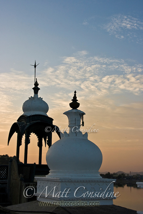Scenic view of palace domes from the rooftop at dusk in Rajasthan, India.<br /> (Photo by Matt Considine - Images of Asia Collection)
