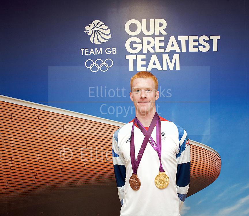 Ed Clancy <br /> bronze medalist in the men's omnium<br /> Cycling <br /> Olympics London 2012 <br /> Team GB Press Conference <br /> 5th August 2012 <br /> <br /> <br /> Ed Clancy  <br /> <br /> <br /> Photograph by Elliott Franks