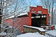Winter Snow, Berks Co., PA Scene Wertz Red Bridge, Tulpehocken Creek