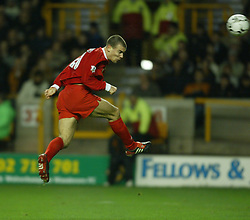 WOLVERHAMPTON, ENGLAND - Wednesday, January 21st, 2004: Liverpool's Bruno Cheyrou heads towards the Wolverhampton Wanderers goal during the Premiership match at Molineux. (Pic by David Rawcliffe/Propaganda)