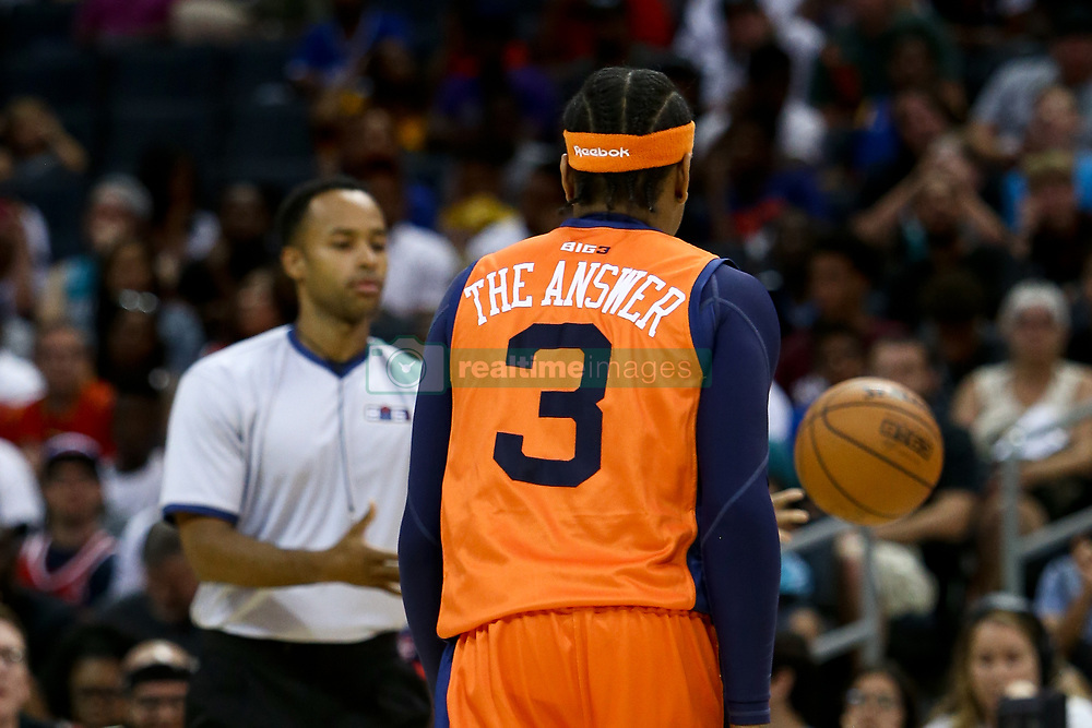 July 2, 2017 - Charlotte, North Carolina, United States - Allen Iverson (3) of 3's Company walks off the court during the game against Ghost Ballers during week two of the BIG3 three on three basketball league at the Spectrum Center. (Credit Image: © Debby Wong via ZUMA Wire)