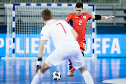Higuita of Kazakhstan during futsal match between Poland and Kazakhstan at Day 3 of UEFA Futsal EURO 2018, on February 1, 2018 in Arena Stozice, Ljubljana, Slovenia. Photo by Urban Urbanc / Sportida