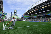Carles Gil #22 of New England Revolution takes a corner kick against the Seattle Sounders during a MLS soccer match on Saturday, Aug. 10, 2019, in Seattle. (Alika Jenner/Image of Sport)