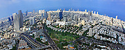 Aerial photography - elevated view of Tel Aviv, Israel metropolitan area Fisheye affect