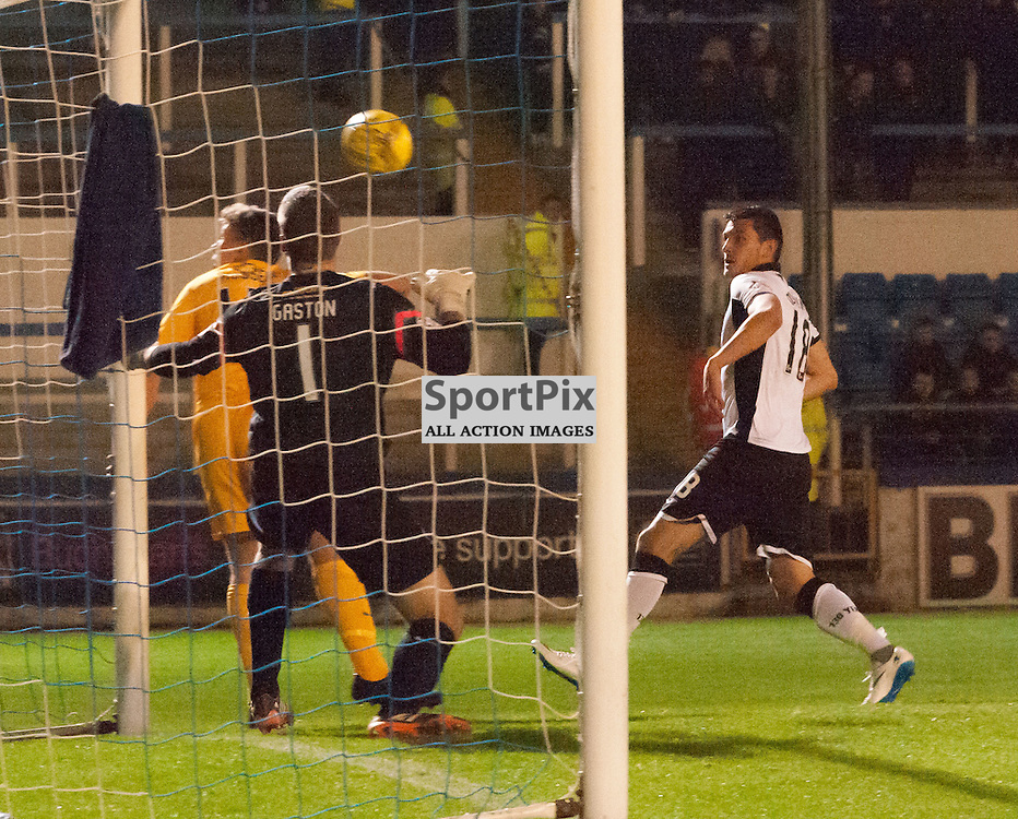 #18 Graham Cummins (St Johnstone) headers goalward only to see his effort strike the Greenock Morton woodwork. Greenock Morton v St Johnstone, Scottish League Cup, 27 October 2015. © Russel Hutcheson | SportPix.org.uk
