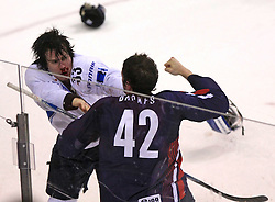 Anssi Salmela of Finland fight with David Backes of USA  at ice-hockey match Finland vs USA at Qualifying round Group F of IIHF WC 2008 in Halifax, on May 11, 2008 in Metro Center, Halifax, Nova Scotia, Canada. (Photo by Vid Ponikvar / Sportal Images)