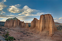 Sandstone Monoliths of the Upper Cathedral Valley at sunset, Capitol Reef National Park Utah