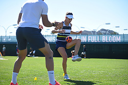 Belinda Bencic (SUI) warming up with her physio at the 2018 Indian Wells Masters 1000 at Indian Wells Tennis Garden, California, USA, on March, 13, 2019. Photo by Corinne Dubreuil/ABACAPRESS.COM