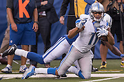 September 11, 2016: Detroit Lions wide receiver Marvin Jones Jr. (11) makes a catch that sets up the game winning field goal during the week 1 NFL game between the Detroit Lions and Indianapolis Colts at Lucas Oil Stadium in Indianapolis, IN.  (Photo by Zach Bolinger/Icon Sportswire)