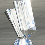 "Sprint Cup trophy sit on display at NASCAR SPRINT CUP ""AAA 400″ auto race at Dover International Speedway in Dover, DE Sunday,  Sept  29, 2013"