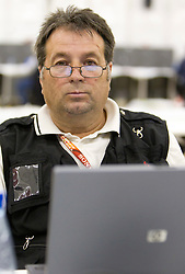 Slovenian photographer Drago Wernig Taka working after the 2010 FIFA World Cup South Africa Group C Third Round match between Slovenia and England on June 23, 2010 at Nelson Mandela Bay Stadium press center, Port Elizabeth, South Africa.  (Photo by Vid Ponikvar / Sportida)
