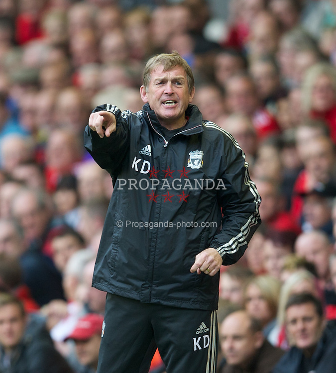 LIVERPOOL, ENGLAND - Saturday, September 24, 2011: Liverpool's manager Kenny Dalglish in action against Wolverhampton Wanderers during the Premiership match at Anfield. (Pic by David Rawcliffe/Propaganda)
