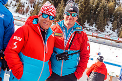 18.02.2017, Biathlonarena, Hochfilzen, AUT, IBU Weltmeisterschaften Biathlon, Hochfilzen 2017, Staffel Herren, im Bild ÖSV- Präsident Peter Schröcksnadel, Cheftrainer Reinhard Gösweiner (AUT) // Austrian Ski Federation President Peter Schröcksnadel Headcoach Reinhard Gösweiner of Austria during Mens Relay of the IBU Biathlon World Championships at the Biathlonarena in Hochfilzen, Austria on 2017/02/18. EXPA Pictures © 2017, PhotoCredit: EXPA/ JFK