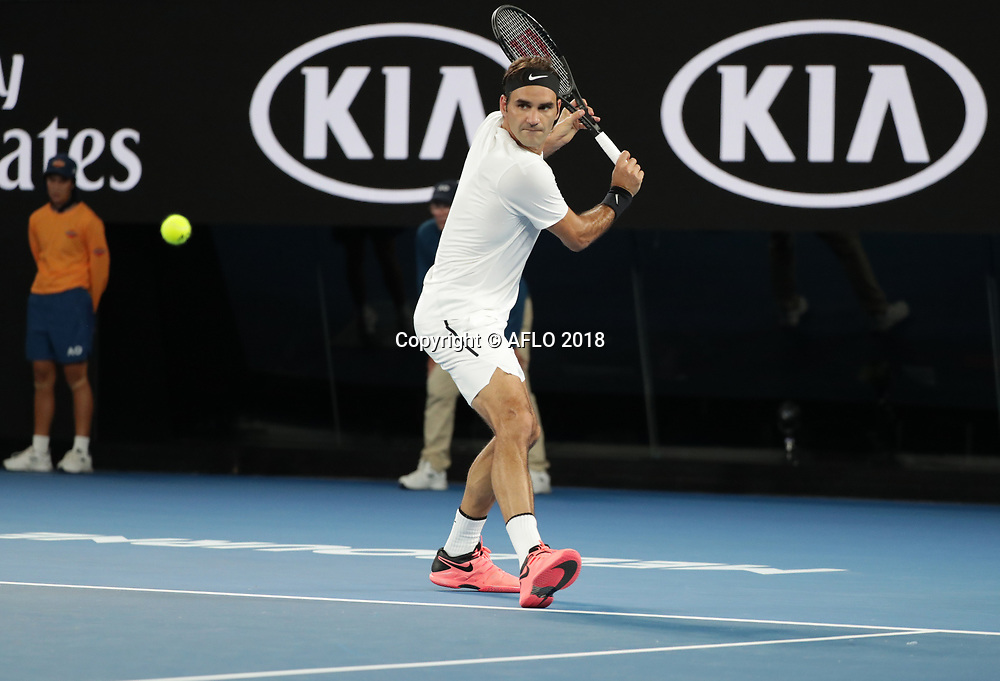 Swiss tennis player Roger Federer is in action during his semi finals match at the Australian Open vs Korean tennis player Hyeon Chung on Jan 26, 2018 in Melbourne, Australia. (Photo by YAN LERVAL/AFLO)