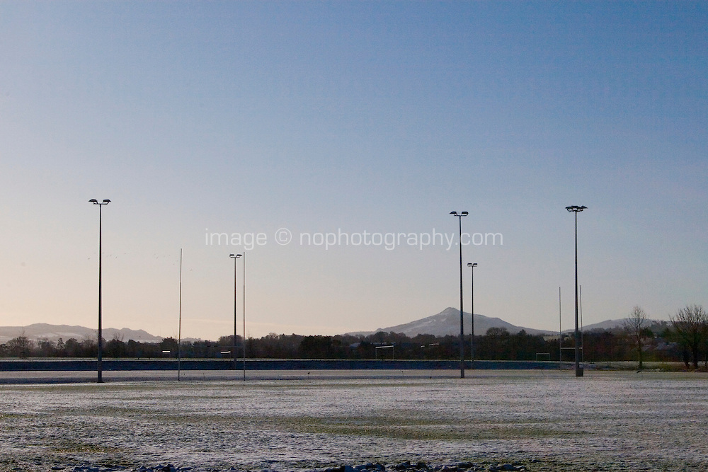 Snow covered football fields at Kilbogget Park in suburban in Dublin Ireland