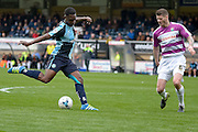 Wycombe Wanderers defender Aaron Pierre (6) shoots during the Sky Bet League 2 match between Wycombe Wanderers and Barnet at Adams Park, High Wycombe, England on 16 April 2016. Photo by Dennis Goodwin.