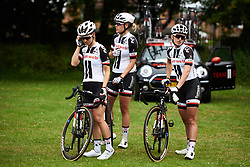 Team Sunweb make their way to sign on at OVO Energy Women's Tour 2018 - Stage 2, a 145 km road race from Rushden to Daventry, United Kingdom on June 14, 2018. Photo by Sean Robinson/velofocus.com