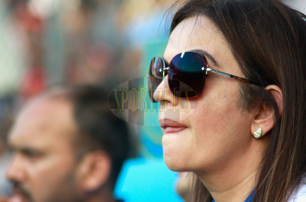 Neeta Ambani owner of Mumbai Indians during match 28 of the the Indian Premier League ( IPL) 2012  between The Mumbai Indians and the Kings X1 Punjab held at the Wankhede Stadium in Mumbai on the 22nd April 2012..Photo by Sandeep Shetty/IPL/SPORTZPICS.