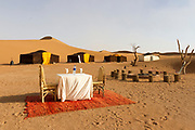 M'HAMID EL GHIZLANE, MOROCCO - 28th April 2014 - Desert Camp, in the Erg Chigaga region of the Moroccan Sahara, beyond M'Hamid el Ghizlane, Erg Chigaga, Southern Morocco.