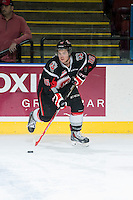 KELOWNA, CANADA - FEBRUARY 14: Blake Bargar #16 of Moose Jaw Warriors warms up with the puck against the Kelowna Rockets on February 14, 2015 at Prospera Place in Kelowna, British Columbia, Canada.  (Photo by Marissa Baecker/Shoot the Breeze)  *** Local Caption *** Blake Bargar;