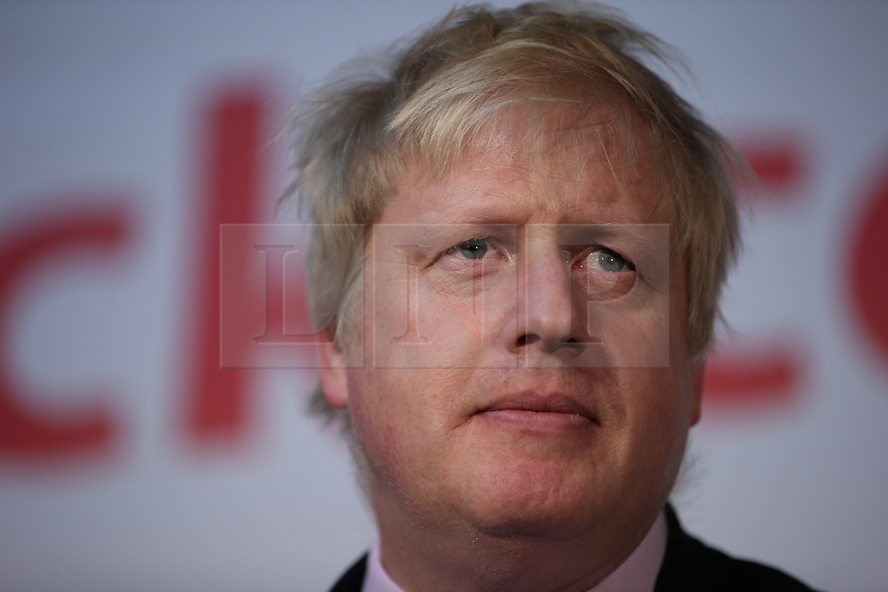 """© Licensed to London News Pictures . 15/04/2016 . Manchester , UK . Boris Johnson speaks at a """" Vote Leave """" rally at Old Granada Studios , in Manchester . Photo credit : Joel Goodman/LNP"""