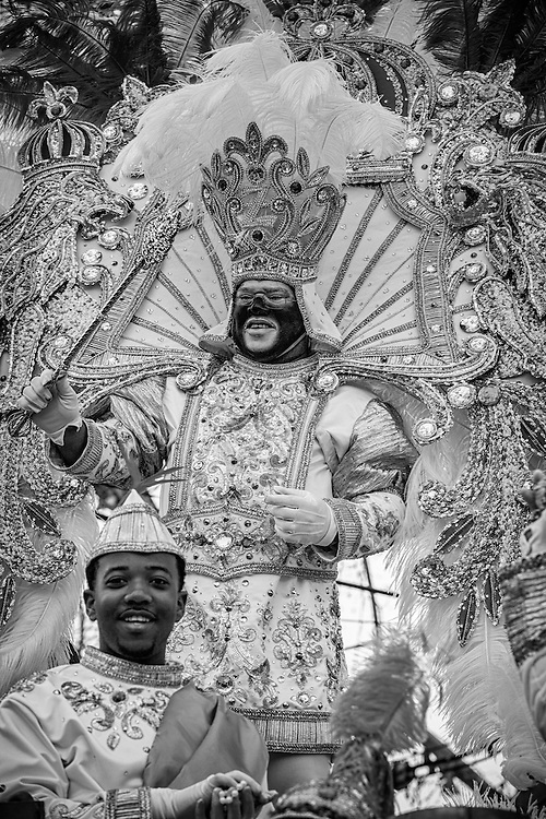 King Zulu 2013 Cedric George Givens rides in the Zulu Social Aid & Pleasure Club's 'Zulu Parade' on Jackson Avenue, the first parade on the morning of Mardi Gras Day on February 12, 2013 in New Orleans, Louisiana.