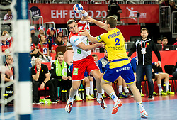 Kent Robin Tonnesen of Norway vs Philip Henningsson of Sweden during handball match between National teams of Sweden and Norway on Day 7 in Main Round of Men's EHF EURO 2018, on January 24, 2018 in Arena Zagreb, Zagreb, Croatia.  Photo by Vid Ponikvar / Sportida