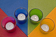 colourful triangles geometrical shapes and candles
