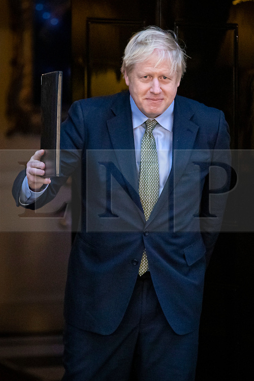 © Licensed to London News Pictures. 13/12/2019. London, UK. Prime Minister Boris Johnson delivers a speech outside 10 Downing Street after winning a majority for the Conservatives in the 2019 General Election. Photo credit: Rob Pinney/LNP