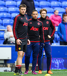 Michael Carrick, Memphis Depay & Daley Blind warm up as substitutes - Mandatory byline: Matt McNulty/JMP - 07966 386802 - 17/10/2015 - FOOTBALL - Goodison Park - Liverpool, England - Everton v Manchester United - Barclays Premier League