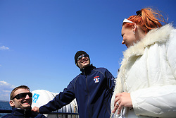 Miha Rebolj and Marcel Rodman and Spela Predan at whale watching boat when Poloncic (18), Golicic (17), Rebolj (27) and Razingar (9) were celebrating an anniversary of playing for Slovenian National Team for 100 (120) times, during IIHF WC 2008 in Halifax,  on May 07, 2008, sea at Halifax, Nova Scotia,Canada.(Photo by Vid Ponikvar / Sportal Images)