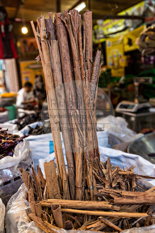 Cinnamon sticks at Benito Juarez market in Oaxaca, Mexico.