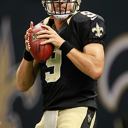 August 25, 2012; New Orleans, LA, USA; New Orleans Saints quarterback Drew Brees (9) prior to kickoff of a preseason game against the Houston Texans at the Mercedes-Benz Superdome. Mandatory Credit: Derick E. Hingle-US PRESSWIRE