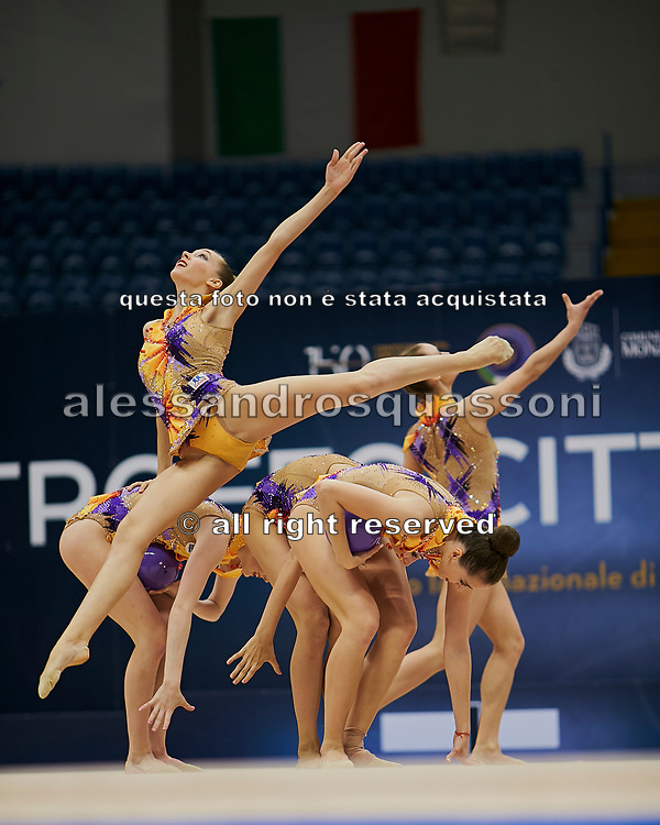 """Belarus Senior Group during the """"1st Trofeo Citta di Monza"""". On this occasion we have seen the rhythmic gymnastics teams of Belarus and Italy challenge each other. The Bilateral period was only June 9, 2019 at the Candy Arena in Monza, Italy."""