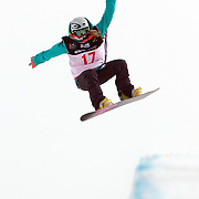 Stephanie Magiros, Australia, in action during the Women's Half Pipe Qualification in the LG Snowboard FIS World Cup, during the Winter Games at Cardrona, Wanaka, New Zealand, 27th August 2011. Photo Tim Clayton....