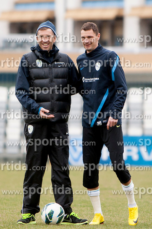 Srecko Katanec and Milivoje Novakovic during training session of Slovenian National football team before World Cup Qualifications match against Iceland on March 20, 2013 in Bonifika, Koper, Slovenia. (Photo By Urban Urbanc / Sportida.com)