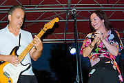 Jimmie Vaughan, Lou Ann Barton and the Tilt-A-Whirl Band at Blues on the Green at Waterloo Park, Austin Texas, July 1, 2009.